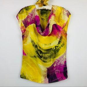 Zara Basic Abstract Silk Blouse S